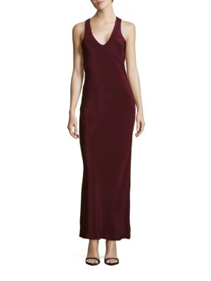 Tibi Solid Sleeveless Silk Gown In Plum