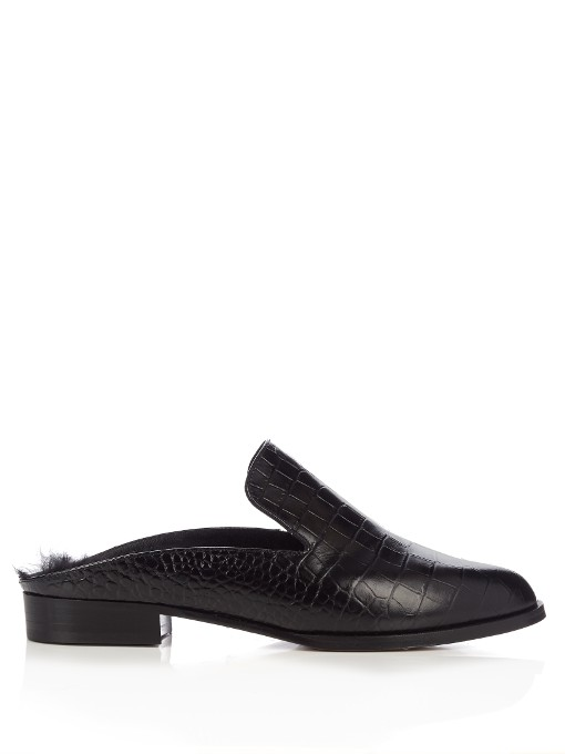 Robert Clergerie Alice Shearling-Lined Leather Backless Loafers In Black