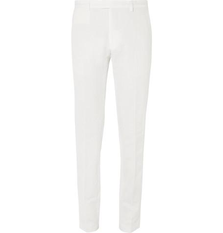 Dries Van Noten Slim-fit Linen And Cotton-blend Trousers