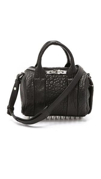 Alexander Wang Mini Rockie - Nickel Lambskin Leather Satchel In Black