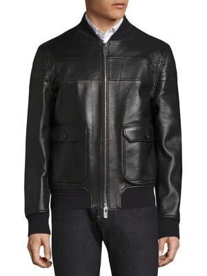 Bally Reversible Leather Bomber Jacket In Black