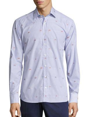 Etro Sea Creature Button-down Shirt In Navy