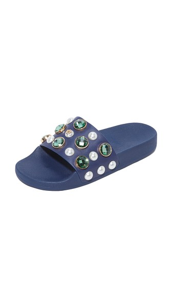 Tory Burch Vail Embellished Leather Slide Sandals In Navy Sea
