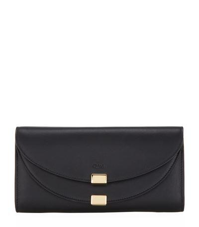 ChloÉ Georgia Leather Flap Wallet, Black