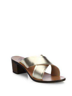 Ancient Greek Sandals Thais Crisscross Vachetta Leather Slide Sandals In Platinum