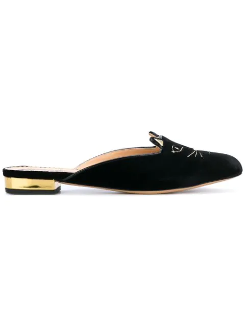 Charlotte Olympia Kitty Cat Face Embroidered Velvet Backless Loafers In Black