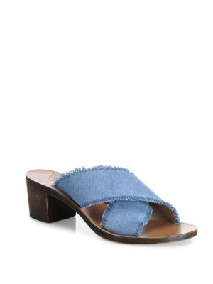 Ancient Greek Sandals Thais Crisscross Denim Slide Sandals
