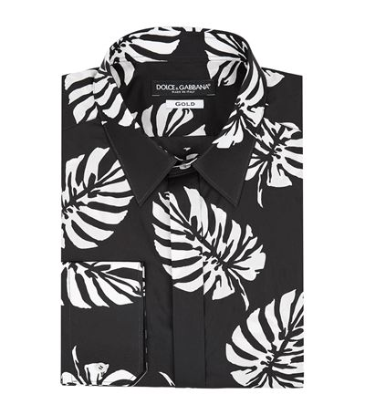 Dolce & Gabbana Palm Leaf Print Shirt In Black
