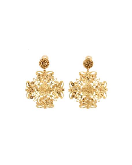 Oscar De La Renta Beaded Clip-On Drop Earrings In Gold