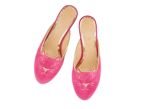 Charlotte Olympia Kitty Embroidered Velvet Mules In Magenta