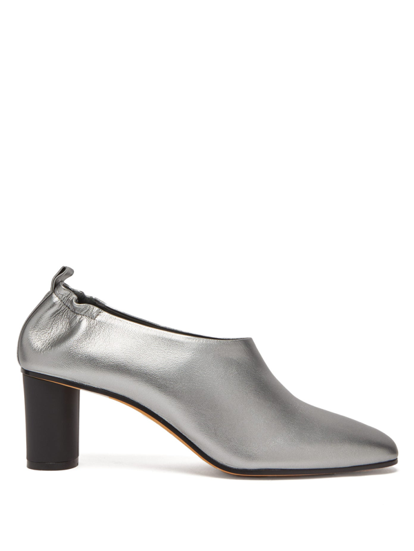 Gray Matters Micol Block-heel Leather Pumps In Silver