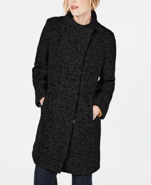 Kenneth Cole Asymmetrical Boucle Walker Coat In Black