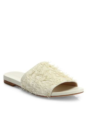 Loeffler Randall Ava Leather Slide Sandals In Ivory