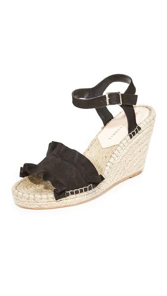 Loeffler Randall Gabby Ruffle Suede Espadrille Wedge Sandals In Black