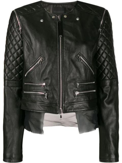 Diesel Black Gold Quilted Sleeves Jacket In 900 Black