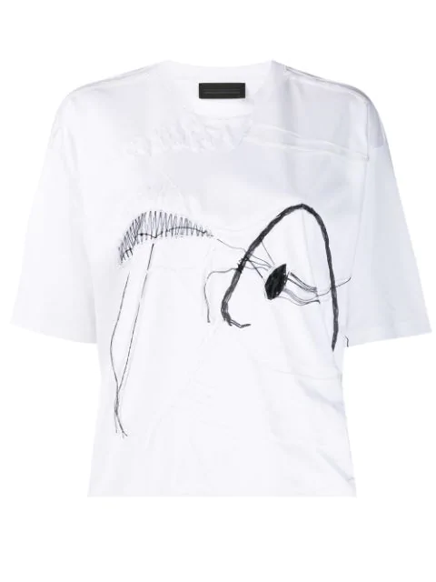 Diesel Black Gold Loose Thread Embroidery T-Shirt  In 100 White