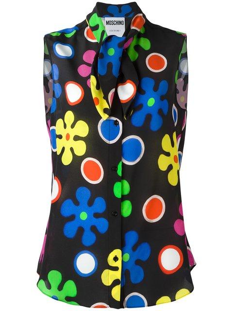 Moschino Flower Power Neck Tie Blouse In Black