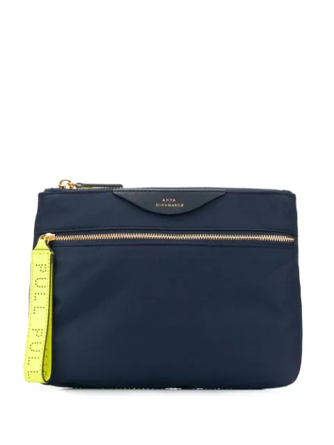 Anya Hindmarch Logo Embossed Pouch In Blue