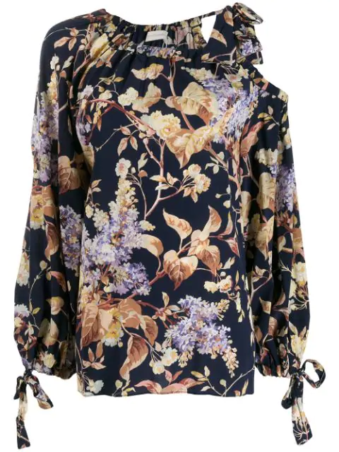 Zimmermann Sabotage Floral-print Draped Blouse In Blue