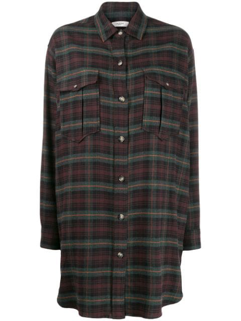 Isabel Marant Étoile Iceo Checked Shirt Dress In Green