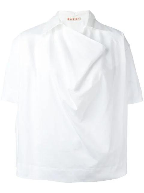 Marni Oversized Neckline Shirt In White