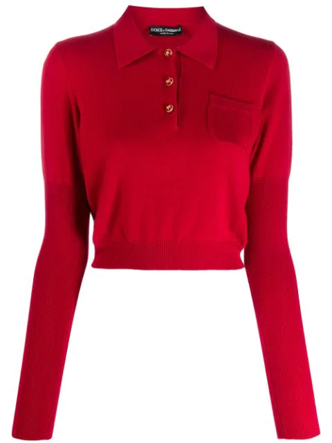 Dolce & Gabbana Cropped Polo Jumper In Red