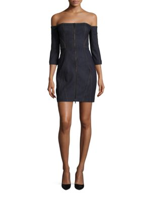 b2aa8e870fd Cinq À Sept Fenton Denim Off-The-Shoulder Zip-Front Mini Dress ...