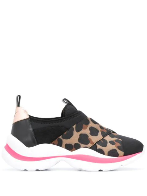 Sophia Webster Leopard Panel Sneakers In Black