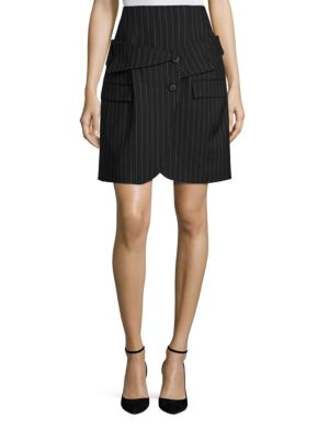 Monse Pinstripe Wool Corset Skirt In Dark Grey