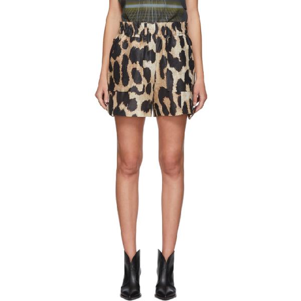 Ganni Leopard-print Linen And Silk-print Mini Shorts In 994 Maxi Le