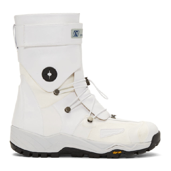 Xander Zhou White Lace-up Boots