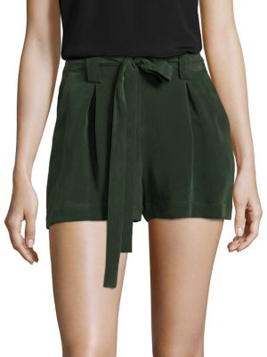 L Agence Alex Washed Silk-crepe Shorts In Picholine