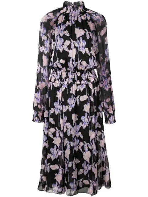 Diane Von Furstenberg Athena Floral-Print Silk-Georgette Midi Dress In Midnight Forest Black