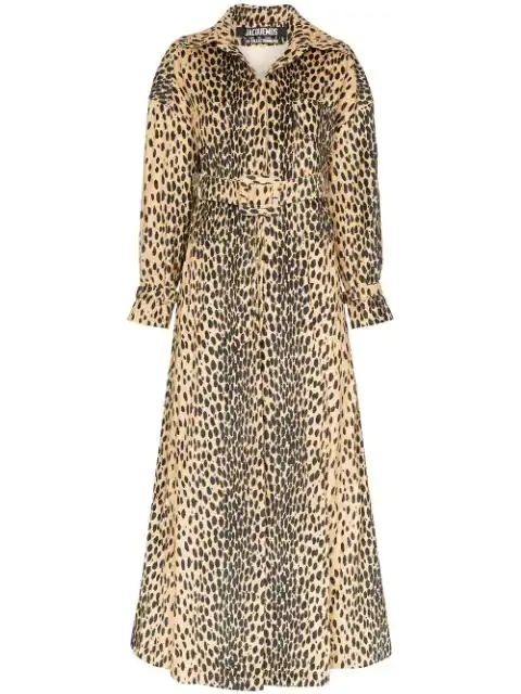 Jacquemus Thika Belted Leopard-print Cotton-blend Trench Coat In Brown