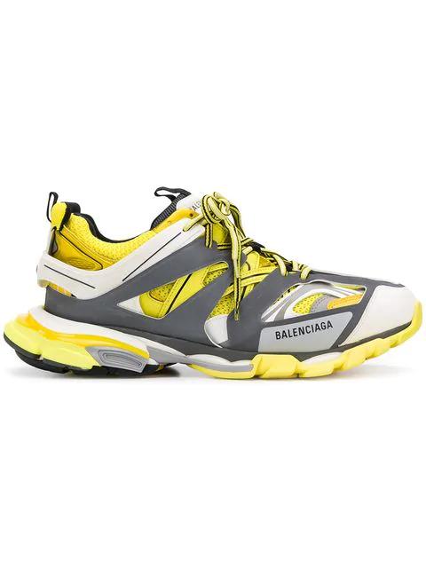 Balenciaga Track Nylon, Mesh And Rubber Sneakers In Yellow