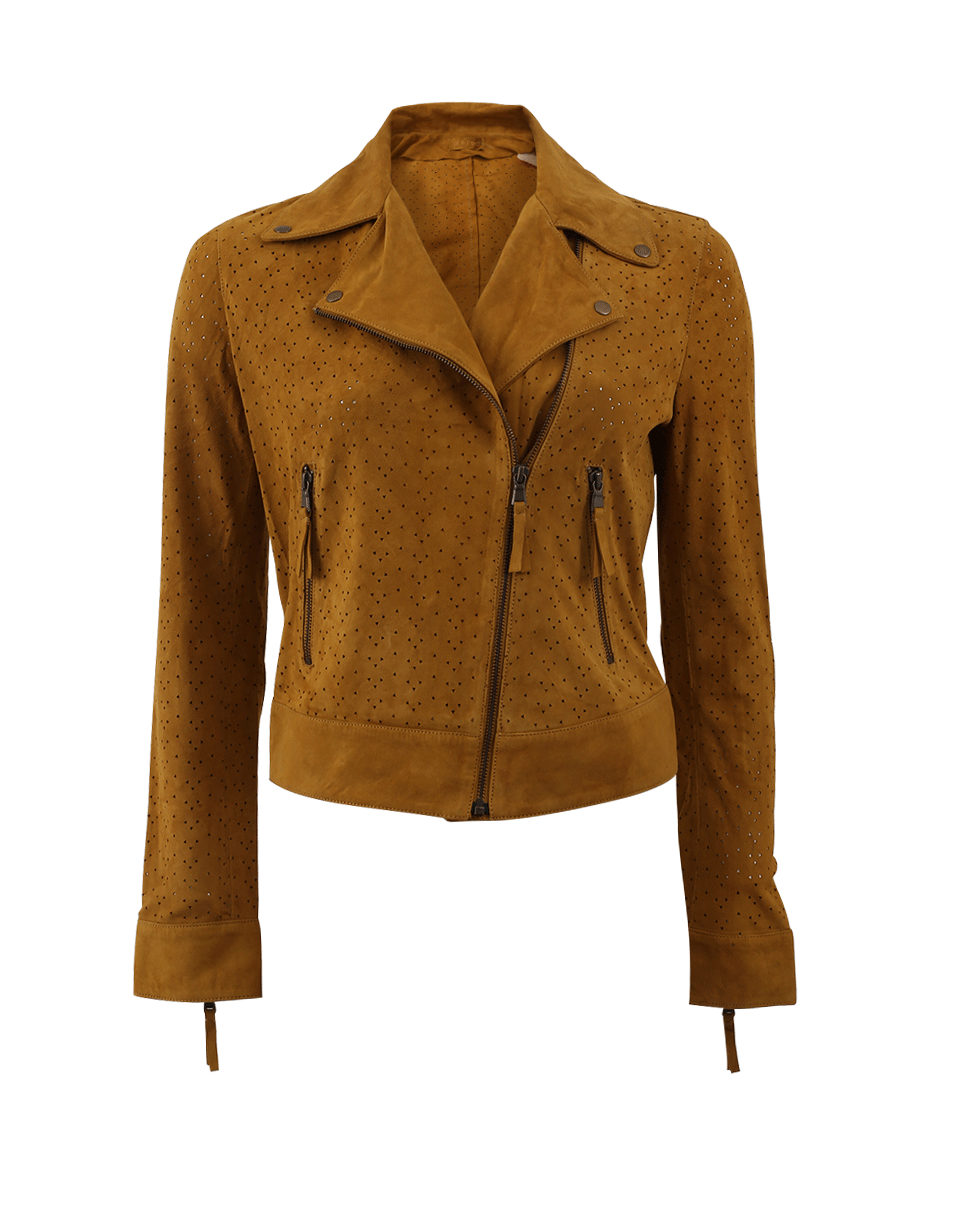 Yves Salomon Perforated Suede Jacket In Moutarde