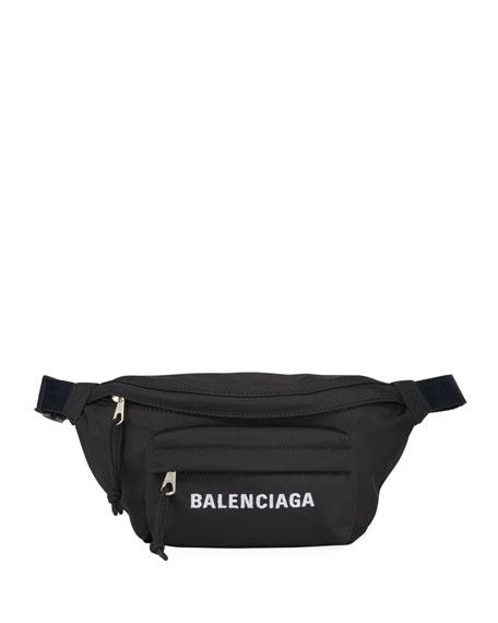Balenciaga Wheel Small Nylon Logo Belt Bag In Black/blue