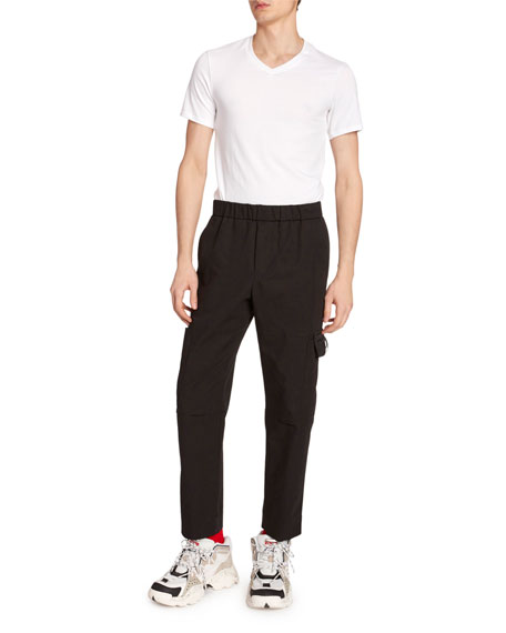 Kenzo Men's Tapered Crop Cargo Pants In Black