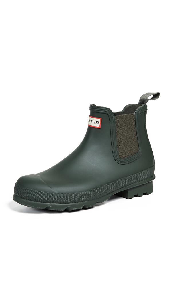 Hunter 'original' Waterproof Chelsea Rain Boot In Dark Olive