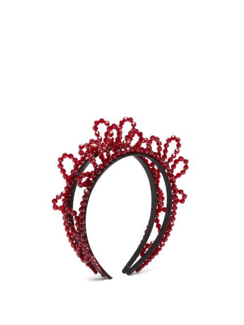 Simone Rocha Double Wiggle Crystal-Embellished Headband In Blood Red