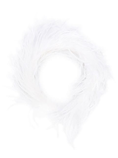 Alessandra Rich Marabou Feather Headband In 002 White