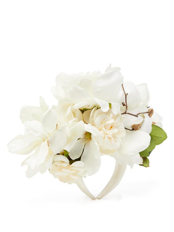 Philippa Craddock Peony And Camelia Faux-flower Headband In White