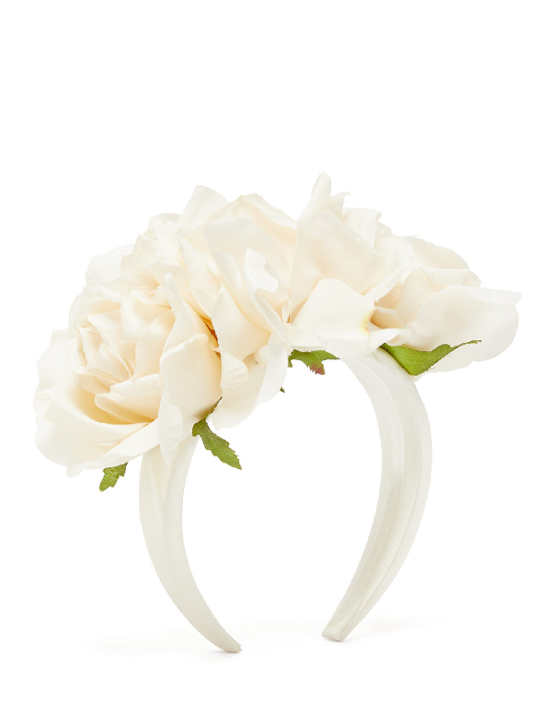 Philippa Craddock Rose Faux-flower Headband In White