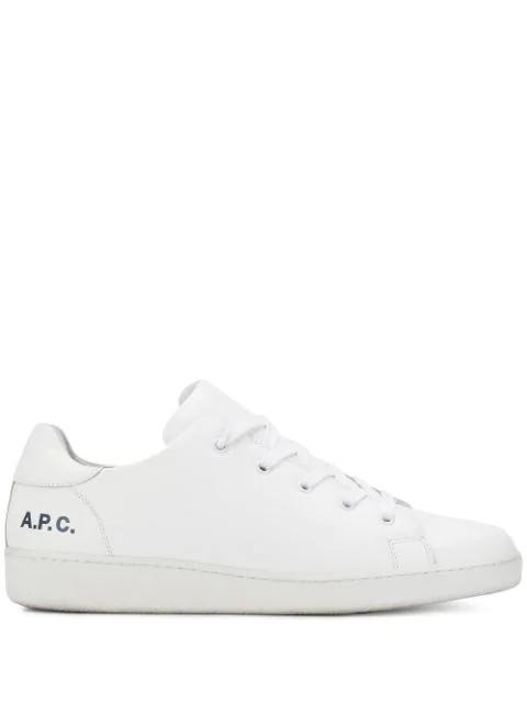 A.p.c. White Leather Minimal Tennis Men's Sneakers