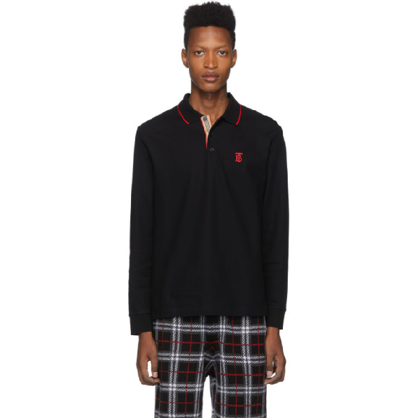 Burberry Aden Tb-Embroidered Long-Sleeved Cotton Polo Shirt In Black