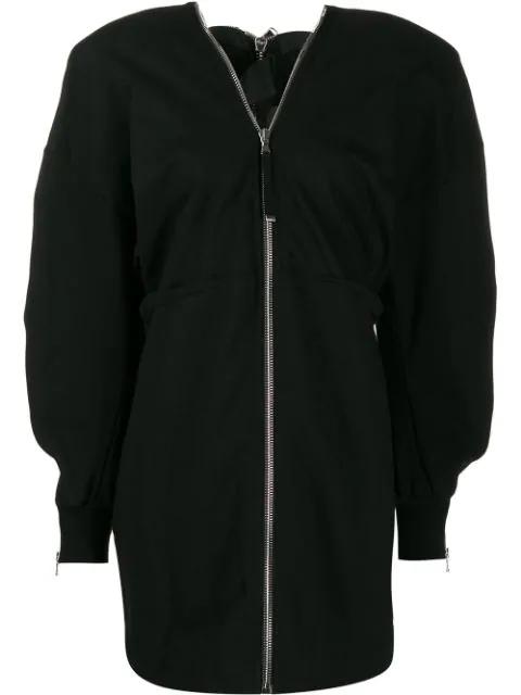 Diesel Black Gold Zipped Sweatshirt Dress  In 900 Black