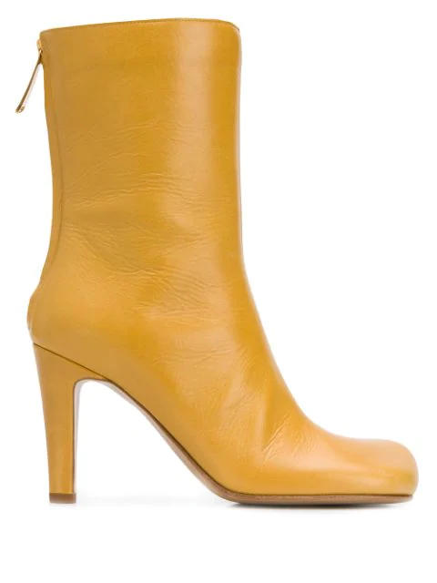 Bottega Veneta Square Toe Boots In Yellow