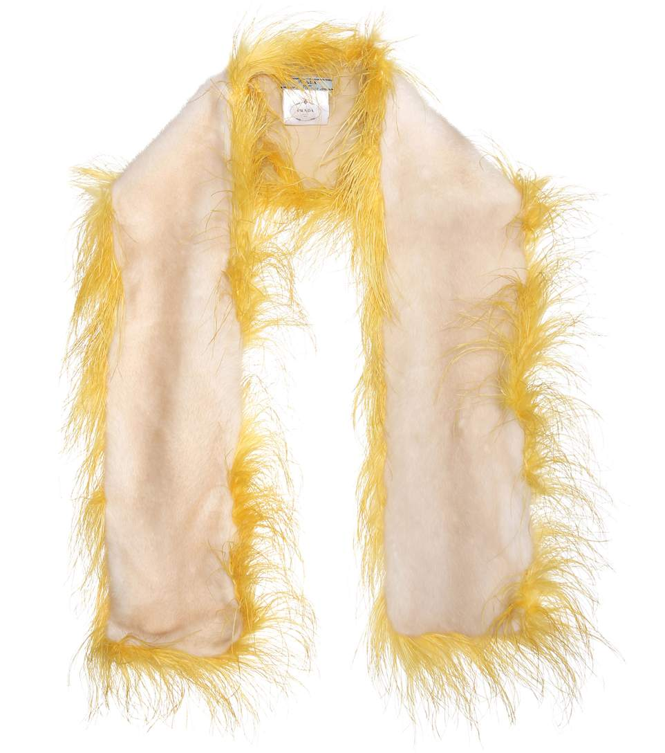 Prada Feather And Fur Scarf