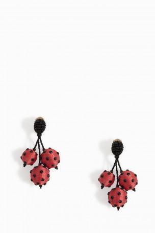 Oscar De La Renta Polka Dot Triple Ball Earrings In Red