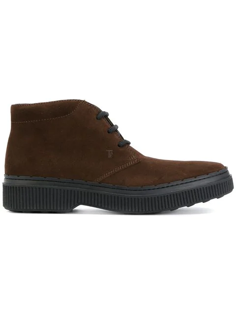 Tod's Men's Suede Desert Boots Lace Up Ankle Boots In Brown